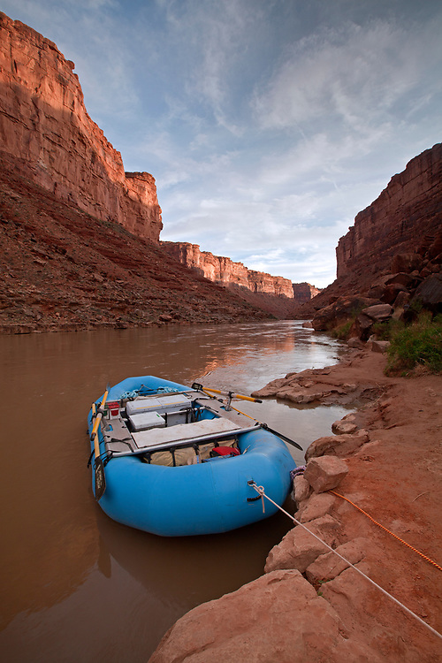 Raft rests at camp near mile 61 on the San Juan River in southern Utah, USA