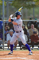 New York University Violets Trevor Francesconi (7) at bat during a game against the Edgewood Eagles on March 14, 2017 at Terry Park in Fort Myers, Florida.  NYU defeated Edgewood 12-7.  (Mike Janes/Four Seam Images)