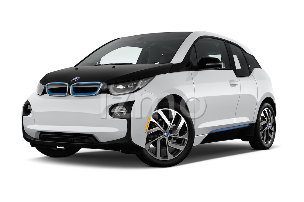 Stock pictures of low aggressive front three quarter view of 2017 BMW i3 Range-Extender 5 Door Hatchback Low Aggressive