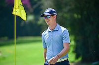 Brandon Stone (RSA) smiles after his chip in from off the green on 1 during round 1 of the World Golf Championships, Mexico, Club De Golf Chapultepec, Mexico City, Mexico. 3/2/2017.<br />