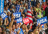 Signs and flags during the fourth session of the 2016 Democratic National Convention at the Wells Fargo Center in Philadelphia, Pennsylvania on Thursday, July 28, 2016.<br /> Credit: Ron Sachs / CNP<br /> (RESTRICTION: NO New York or New Jersey Newspapers or newspapers within a 75 mile radius of New York City)