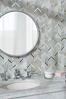 Belen, a waterjet jewel glass mosaic, shown in Alabaster, Dawn Mirror, and Champagne, is part of the Bright Young Things™ collection by New Ravenna.