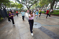 China, Hong Kong S.A.R..Morning Tai Chi at Victoria Park.
