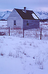 Idaho, Homestead, Wood River Valley, USA, old Western ranch house, winter, cold weather, snow,.