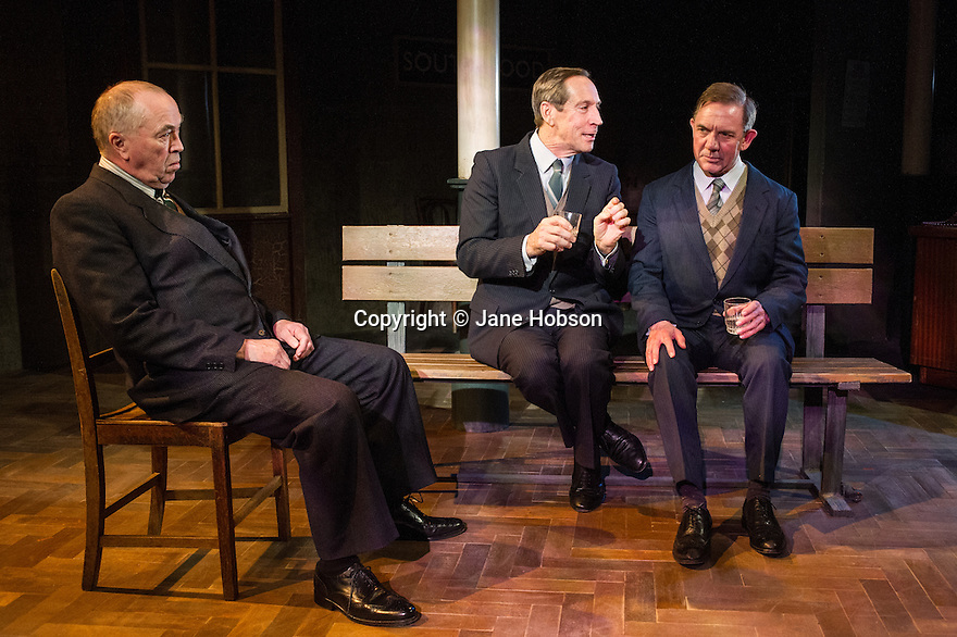 London, UK. 07.05.2013. The Menier Chocolate Factory presents a new production of TRAVELS WITH MY AUNT, based on the book by Graham Greene and adapted for the stage by Giles Havergal. Directed by Christopher Luscombe, the production has a strictly limited 8 week season, 2nd May to 29th June. The company is: Jonathan Hyde, David Bamber, Iain Mitchell, Gregory Gudgeon. Set and costume design is by Gregory Clarke and lighting design is by Oliver Fenwick. Picture shows: Iain Mitchell, Jonathan Hyde, David Bamber. Photograph © Jane Hobson.