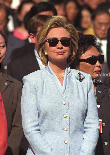 First lady Hillary Rodham Clinton watches the Official Arrival Ceremony honoring Premier Zhu Rongji of the People's Republic of China on the South Lawn of the White House in Washington, D.C. on April 8, 1999.<br /> Credit: Ron Sachs / CNP