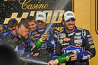 Winner Jimmie Johnson (#48) ® and Chad Knaus celebrate.