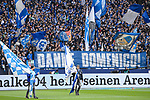 16.03.2019, VELTINS Arena, Gelsenkirchen, Deutschland, GER, 1. FBL, FC Schalke 04 vs. RB Leipzig<br /> <br /> DFL REGULATIONS PROHIBIT ANY USE OF PHOTOGRAPHS AS IMAGE SEQUENCES AND/OR QUASI-VIDEO.<br /> <br /> im Bild Plakat DANKE DOMENICO<br /> <br /> Foto © nordphoto / Kurth