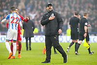 Huddersfield Town manager David Wagner applauds the fans after the match<br /> <br /> Photographer Alex Dodd/CameraSport<br /> <br /> The Premier League - Huddersfield Town v Swansea City - Saturday 10th March 2018 - John Smith's Stadium - Huddersfield<br /> <br /> World Copyright &copy; 2018 CameraSport. All rights reserved. 43 Linden Ave. Countesthorpe. Leicester. England. LE8 5PG - Tel: +44 (0) 116 277 4147 - admin@camerasport.com - www.camerasport.com
