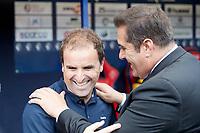 -Jagoba Arrasate (Coach; CA Osasuna) and Sandoval (Coach; Córdoba CF) during the Spanish football of La Liga 123, match between CA Osasuna and Cordoba CF at the Sadar stadium, in Pamplona (Navarra), Spain, on Saturday, October 13, 2018.