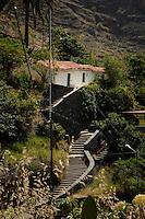 White cottage amongst the mountains, Chejelepes, San Sebastian, La Gomera, Canary Islands, Spain