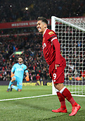 17th March 2018, Anfield, Liverpool, England; EPL Premier League football, Liverpool versus Watford; Roberto Firmino of Liverpool celebrates his goal in the 49th minute for 3-0
