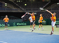 Switserland, Genève, September 16, 2015, Tennis,   Davis Cup, Switserland-Netherlands, Practise Dutch team, ltr : coach Martin Bohm, captain Jan Siemerink, Matwe Middelkoop, Tallon Griekspoor  and Tim van Rijthoven. <br /> Photo: Tennisimages/Henk Koster