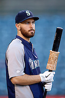Dustin Ackley #13 of the Seattle Mariners before a game against the Los Angeles Angels at Angel Stadium on September 26, 2012 in Anaheim, California. Los Angeles defeated Seattle 4-3. (Larry Goren/Four Seam Images)