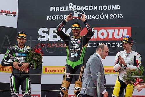 03.04.2016. Motorland, Aragon, Spain, World Championship Motul FIM of Superbikes. Kenan Sofuoglu #1, Kawasaki ZX-6R rider of Supersport  celebrates the victory after the Race  in the World Championship Motul FIM of Superbikes from the Circuito de Motorland.