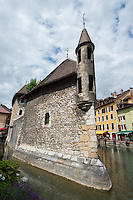 France, Annecy. Rhone-Alpes, Haute-Avoie. The Venice of Savoie, north of the French Alps. Canals and old building that was once a prison.