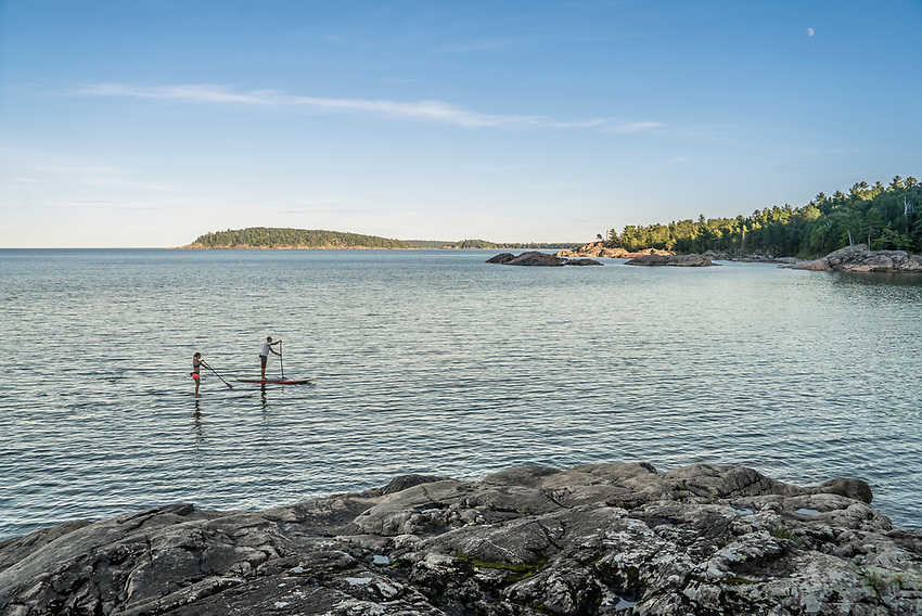 Stand up paddling on Lake Superior near Marquette, Michigan.