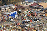 April 2nd, 2011, Rikuzentakata, Japan - Destroyed houses are burried in the sea of debris in Rikuzentakata City, Iwate Prefecture, on April 2, 2011, three weeks after this Japanese coastal city was wiped out by a tsunami that followed a magnitude 9.0 earthquake. Rikuzentakata was one of the worst-hit town in the entire northeastern region. (Natsuki Sakai/AFLO) [3615] -mis-...