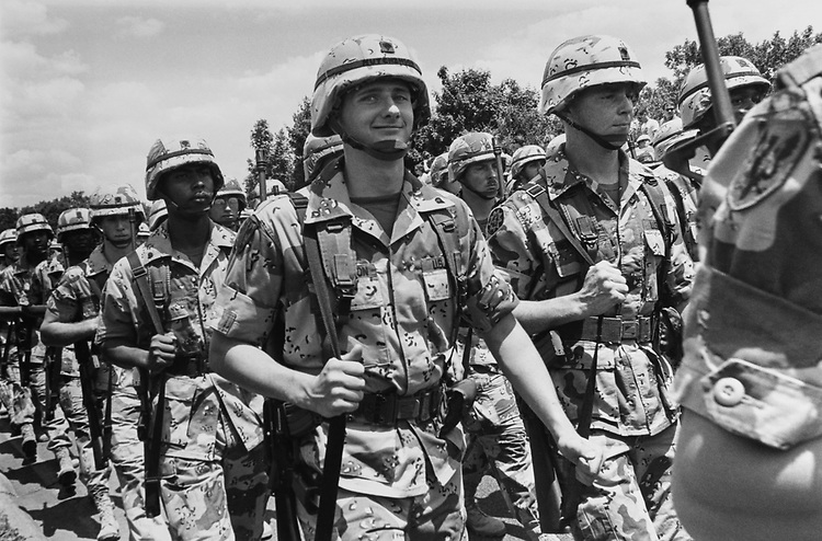 Army troops marching at the victory parade, on June 8, 1991. (Photo by Maureen Keating/CQ Roll Call via Getty Images)