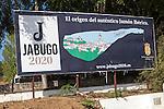 Advertising sign for Jamon Iberico, Jabugo, Sierra Morena, Sierra Aracena, Huelva province, Spain