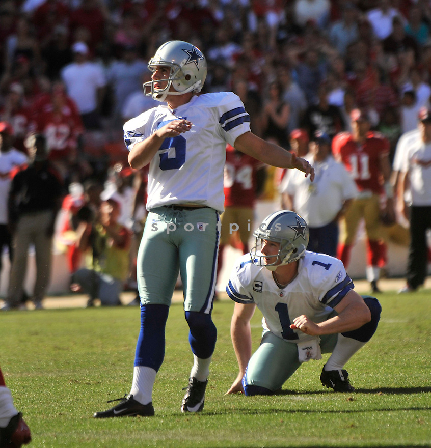 DAN BAILEY, of the Dallas Cowboys, in action during the Cowboy's game against the 49ers on September 18, 2011 at Candlestick Park in San Francisco, CA. The Cowboys beat the 49ers 27-24 in OT.