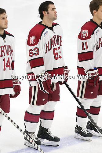 Colin Blackwell (Harvard - 63) - The Harvard University Crimson defeated the visiting Princeton University Tigers 5-0 on Harvard's senior night on Saturday, February 28, 2015, at Bright-Landry Hockey Center in Boston, Massachusetts.