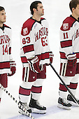 Colin Blackwell (Harvard - 63) - The Harvard University Crimson defeated the visiting Princeton University Tigers 5-0 on Harvard's senior night on Saturday, February 28, 2015, at Bright-Landry Hockey Center in Boston, Massachusetts.