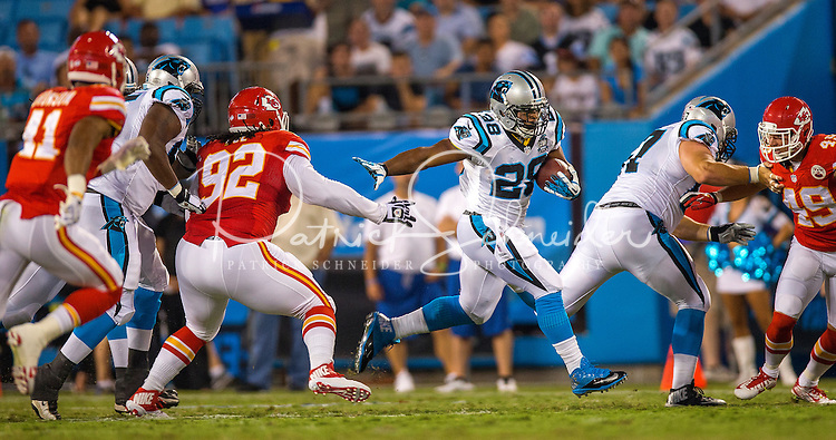 Sports action photography of the Carolina Panthers against the Kansas City Chiefs during their preseason NFL game at Bank of America Stadium in Charlotte, North Carolina.  <br /> <br /> Charlotte Photographer - Patrick SchneiderPhoto.com