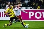 10.02.2018, Signal Iduna Park, Dortmund, GER, 1.FBL, Borussia Dortmund vs Hamburger SV, <br /> <br /> im Bild | picture shows:<br /> Oemer Toprak (Borussia Dortmund #36) kl&auml;rt vor Jann-Fiete Arp (Hamburger SV #40), <br /> <br /> <br /> Foto &copy; nordphoto / Rauch