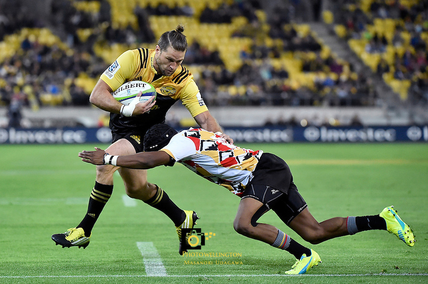 Hurricanes' Cory Jane and Kings' Malcolm Jaer in action during the Super Rugby - Hurricanes v Southern Kings at Westpac Stadium, Wellington, New Zealand on Friday 25 March 2016.<br /> Photo by Masanori Udagawa. <br /> www.photowellington.photoshelter.com.
