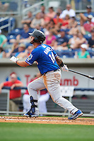Biloxi Shuckers first baseman Nick Ramirez (14) at bat during the first game of a double header against the Pensacola Blue Wahoos on April 26, 2015 at Pensacola Bayfront Stadium in Pensacola, Florida.  Biloxi defeated Pensacola 2-1.  (Mike Janes/Four Seam Images)