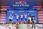 Groupama-FDJ lead the team classification at the end of Stage 11 of the 2019 Giro d'Italia, running 221km from Carpi to Novi Ligure, Italy. 22nd May 2019<br /> Picture: Massimo Paolone/LaPresse | Cyclefile<br /> <br /> All photos usage must carry mandatory copyright credit (© Cyclefile | Massimo Paolone/LaPresse)