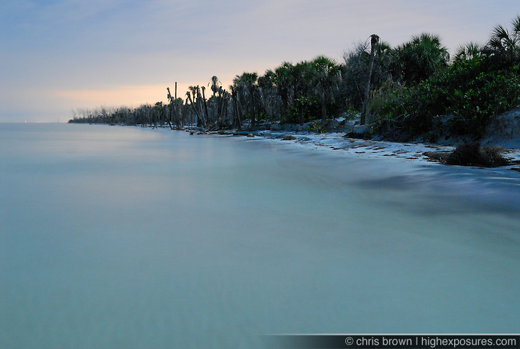 Moon light illuminates the beach on Egmont Key.