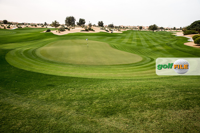 9th green at The Els Club , Dubai, United Arab Emirates.  28/01/2016. Picture: Golffile | David Lloyd<br /> <br /> All photos usage must carry mandatory copyright credit (&copy; Golffile | David Lloyd)