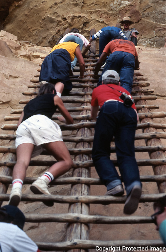 Traditional wooden ladder of the Ancestral Puebloan architectural style, July 1987.