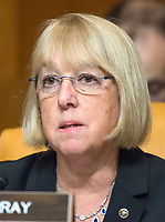 United States Senator Patty Murray (Democrat of Washington) questions Mick Mulvaney, Director, Office of Management and Budget, as he testifies before the US Senate Committee on the Budget on the President's fiscal year 2019 budget proposal on Capitol Hill in Washington, DC on Tuesday, February 13, 2018.<br /> Credit: Ron Sachs / CNP /MediaPunch