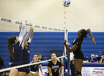 Marymount's Morgan McAlpin hits in a college volleyball game, in Arlington, Vir., on Saturday, Nov. 1, 2014.<br /> Photo by Cathleen Allison