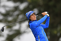 Celine Boutier (EUR) on the 2nd tee during Day 3 Singles at the Solheim Cup 2019, Gleneagles Golf CLub, Auchterarder, Perthshire, Scotland. 15/09/2019.<br /> Picture Thos Caffrey / Golffile.ie<br /> <br /> All photo usage must carry mandatory copyright credit (© Golffile | Thos Caffrey)