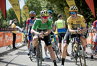 yellow jersey / GC leader Wout van Aert (BEL/Jumbo - Visma) & green jersey wearer (for the day) Daryl Impey (ZAF/Mitchelton-Scott) at the race start in Vienne<br /> <br /> Stage 2: Vienne to Col de Porte (135km)<br /> 72st Critérium du Dauphiné 2020 (2.UWT)<br /> <br /> ©kramon