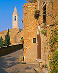 Tuscany, Italy:  Pienza's outer stone walls and walkway lead to the cathedral in  the center of town