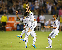 CARSON, CA - August 31, 2013: Los Angeles Galaxy forward Robbie Keane (7) celebrating his second goal during the LA Galaxy vs San Jose Earthquakes match at the StubHub Center in Carson, California. Final score, LA Galaxy 3, San Jose Earthquakes  0.