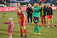 Portland, OR - Wednesday June 28, 2017: Meghan Klingenberg, Adrianna Franch laugh during a regular season National Women's Soccer League (NWSL) match between the Portland Thorns FC and FC Kansas City at Providence Park.