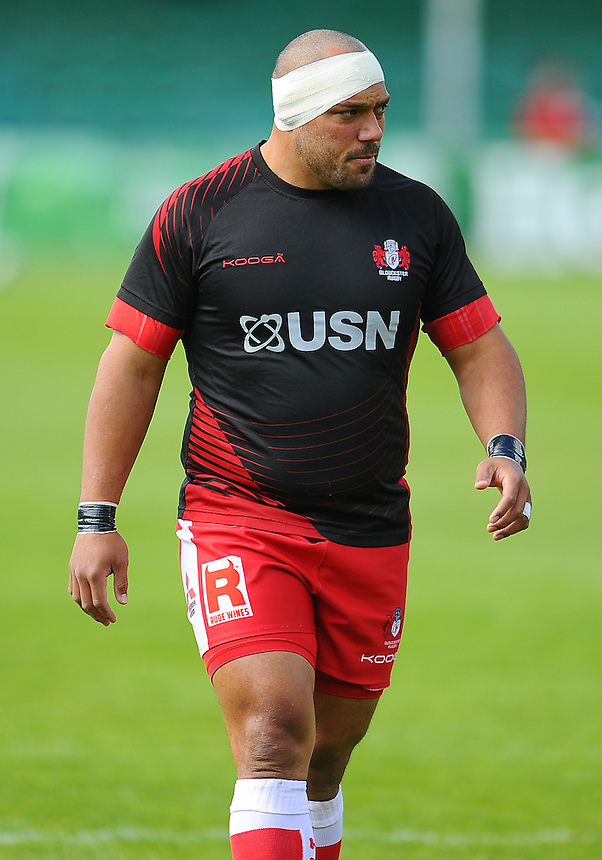 Gloucester Rugby's John Afoa during the pre match warm up<br /> <br /> Photographer Craig Thomas/CameraSport<br /> <br /> Rugby Union - 2015/16 Champions Cup Qualifying Play Off Final - Gloucester Rugby v  Bordeaux-Begles - Sunday 31st May 2015 - Sixways, Worcester<br /> <br /> &copy; CameraSport - 43 Linden Ave. Countesthorpe. Leicester. England. LE8 5PG - Tel: +44 (0) 116 277 4147 - admin@camerasport.com - www.camerasport.com
