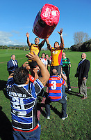 Thames Valley's Blake Hill and North Otago's Lemi Masoe go up for lineout bale during the Pink Batts Heartland Championship 2013 season launch at Waikanae RFC, Waikanae, New Zealand on Tuesday, 13 August 2013. Photo: Dave Lintott / lintottphoto.co.nz