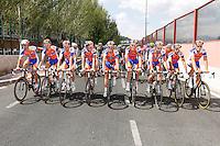 Rabobank Cyclin Team celebrates the end of La Vuelta during the stage of La Vuelta 2012 beetwen Cercedilla and Madrid.September 9,2012. (ALTERPHOTOS/Paola Otero)