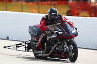 Apr 26, 2014; Baytown, TX, USA; NHRA top fuel Harley Davidson Rider XXXX during qualifying for the Spring Nationals at Royal Purple Raceway. Mandatory Credit: Mark J. Rebilas-