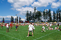 Burnaby, BC, British Columbia, Canada - Teams playing Volleyball at Sports Day Tournament, Swangard Stadium, Central Park