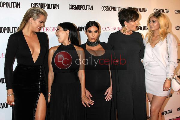 Khloe Karsahian, Kourtney Kardashian, Kim Kardashian West, Kris Jenner, Kylie Jenner<br /> at the Cosmopolitan Magazine's 50th Anniversary Party, Ysabel, Los Angeles, CA 10-12-15<br /> David Edwards/DailyCeleb.com 818-249-4998