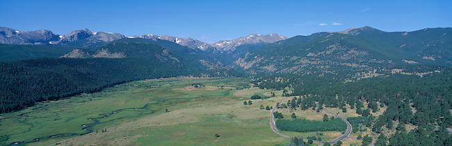 Panoramic view of Moraine Park and Big Thompson River valley, Rocky Mtn Nat'l Park, CO