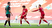 5th July 2020, Anfield, Liverpool, England;  Liverpools Curtis Jones celebrates after scoring his goal during the Premier League match between Liverpool and Aston Villa at Anfield in Liverpool